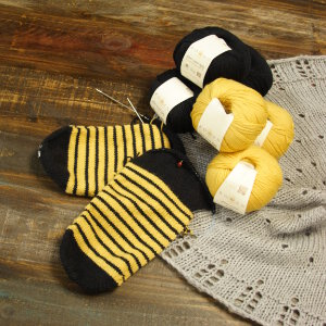 Rowan Stripey Socks - Yarn & Pattern - Black and Yellow Stripe