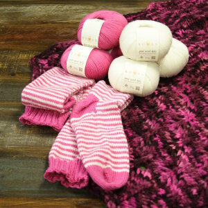 Rowan Stripey Socks - Yarn & Pattern - Pink and White Stripe