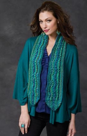 Red Heart Boutique Treasure Ripple on the Side Scarf Kit - Scarf and Shawls