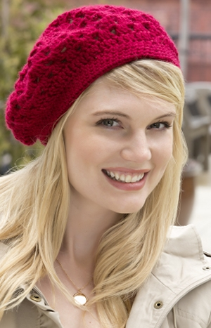 Red Heart Soft Solid Crocheted Bridgette Beret  Kit - Crochet for Adults