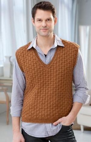 Red Heart Soft Solid Men's Basketweave Vest Kit - Mens Sweaters