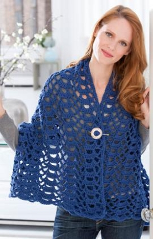 Red Heart With Love Crochet Fan Trellis Wrap Kit - Crochet for Adults