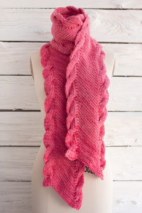 Manos del Uruguay Maxima Solid Bias Scarf with Ribbed Cables  Kit - Scarf and Shawls