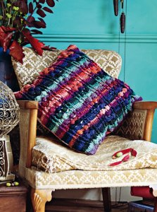 Noro Kureyon Berry Cushion Cover Kit - Crochet for Home