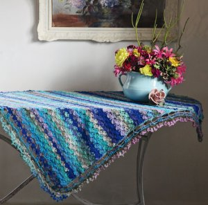 Noro Taiyo Sock Hydrangea Tablecloth Kit - Crochet for Home