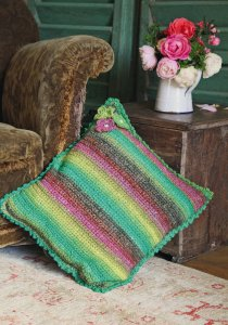 Noro Silk Garden Beaded Petal Cushion Cover Kit - Crochet for Home