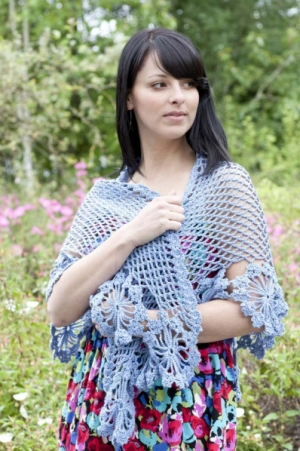 Cascade Yarns Ultra Pima French Blue Shawl Kit - Crochet for Adults