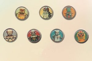 Blue Moon Button Art Plastic and Novelty - I-ROBOTS Set of 7 18mm