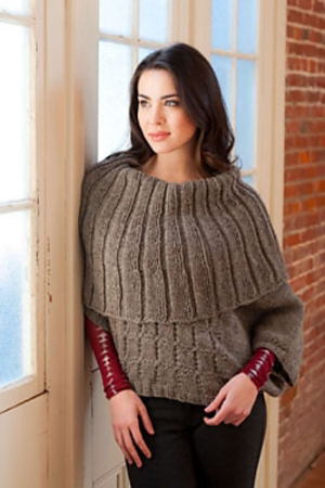 Plymouth Yarn Homestead Woman's Capelet Poncho Kit - Women's Pullovers