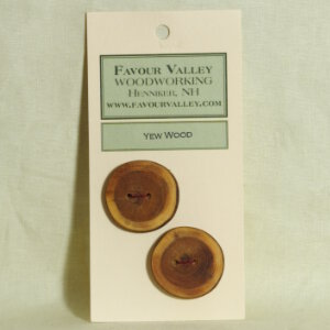 Favour Valley Woodworking Wood Buttons - Yew Wood - Large (2 button card)