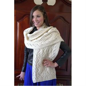 Plymouth Yarn Women's Accessory Patterns - 2878 Cabled Shawl Pattern