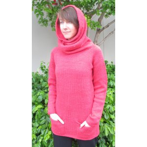 Knitting Pure and Simple Women's Sweater Patterns - 1507 - Cowl Hoodie Pattern