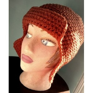 Mrs. Crosby Steamer Trunk Pumpkin Spice Aviator Hat Kit - Crochet for Adults