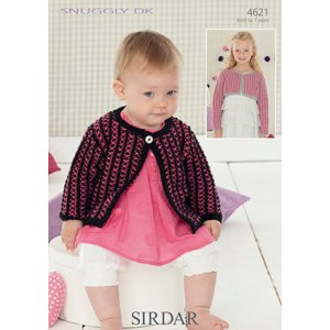 Sirdar Snuggly Baby and Children Patterns - 4621 Cropped Option Cardigan Pattern