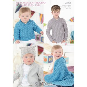Sirdar Snuggly Baby and Children Patterns - 4590 Sweater, Helmet, and Blanket Pattern