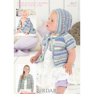 Sirdar Snuggly Baby and Children Patterns - 4517 Cardigans, Bonnet, and Blanket Pattern