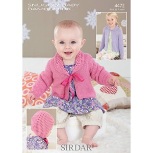 Sirdar Snuggly Baby and Children Patterns - 4472 Cardigans and Bonnet Pattern