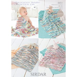 Sirdar Snuggly Baby and Children Patterns - 4451 Four Crochet Blankets Pattern