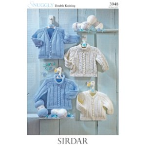Sirdar Snuggly Baby and Children Patterns - 3948 Four Sweaters and Cardigans Pattern