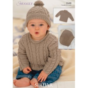 Sirdar Snuggly Patterns - Baby and Children Patterns - 1648 Sweaters, Blanket, and Hat photo