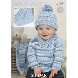 Sirdar Snuggly Baby and Children Patterns - 1926 Sweater, Hat, and Blanket Pattern