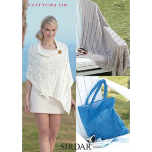 Sirdar Cotton DK Patterns - 7500 Throw, Wrap, and Bag Pattern