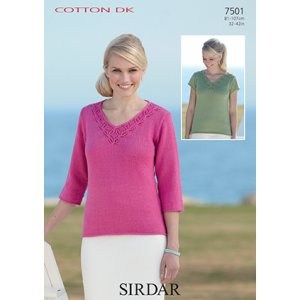 Sirdar Cotton DK Patterns - 7501 Sweaters Pattern