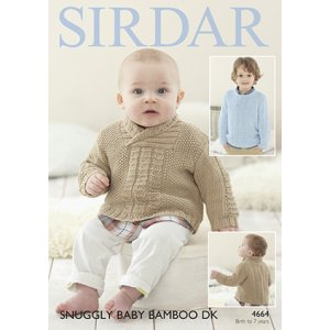 Sirdar Snuggly Baby and Children Patterns - 4664 Wrap or Round Neck Sweater Pattern