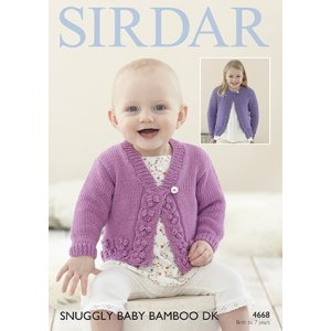 Sirdar Snuggly Baby and Children Patterns - 4668 Round and V-Neck Cardigan Pattern