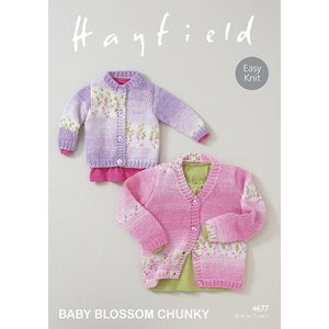 Hayfield Patterns - Baby Blossom Chunky Patterns - 4677 Baby Cardigan - PDF DOWNLOAD