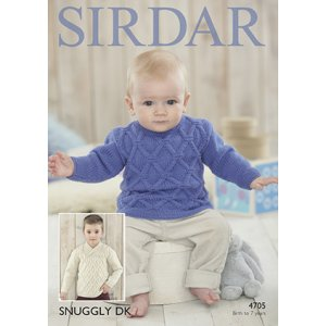 Sirdar Snuggly Baby and Children Patterns - 4705 Cabled Baby and Child Sweater - PDF DOWNLOAD Pattern