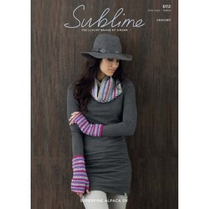 Sublime Superfine Alpaca DK Patterns - 6112 Crocheted Snood and Wristwarmers Pattern