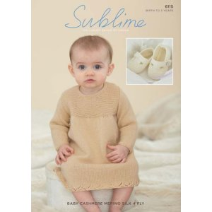 Sublime Baby Cashmere Merino Silk 4 ply Patterns - 6115 Dress & Shoes - PDF DOWNLOAD Pattern
