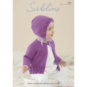 Sublime Patterns - Baby Cashmere Merino Silk 4 ply Patterns - 6116 Cardigan & Bonnet