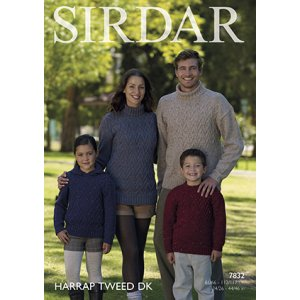 Sirdar Harrap Tweed DK Patterns - 7832 Cabled Pullovers Pattern