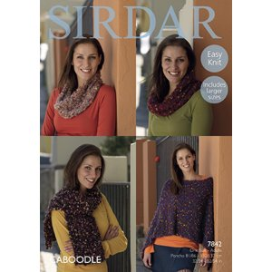 Sirdar Caboodle Patterns - 7842 Poncho, Snoods & Scarf Pattern