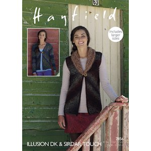 Hayfield Illusion Patterns - 7856 Cardigan and Vest Pattern