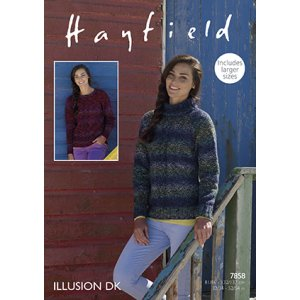 Hayfield Illusion Patterns - 7858 Cabled Pullover Pattern