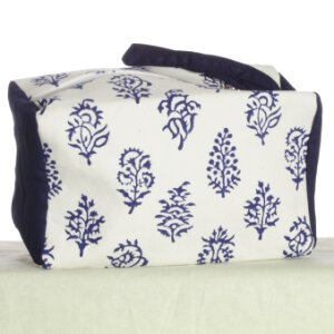 Knitter's Pride Hand Block Printed Fabric bags - Joy - Blue Floral - Small (2)