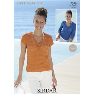 Sirdar Cotton DK Patterns - 7070 Crochet Sweater Pattern