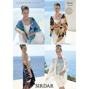 Sirdar Cotton DK Patterns - 7074 Two Crochet Shawls Pattern