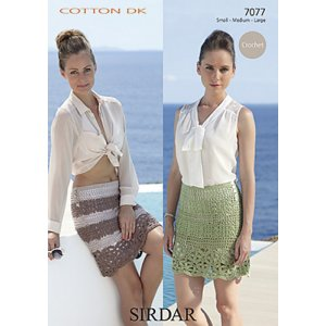 Sirdar Cotton DK Patterns - 7077 Crochet Skirt Pattern