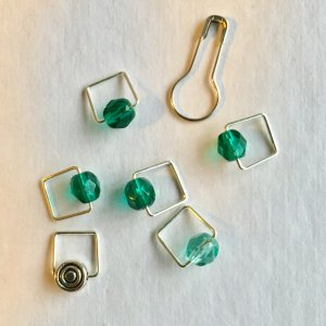 Spark Exclusive JBW Stitch Markers - '17 March - Chrysocolla