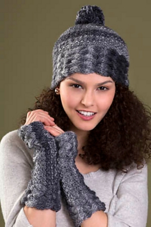 Tahki Mesa Bliss Fingerless Gloves Kit - Hats and Gloves