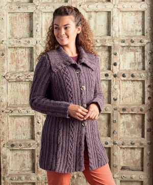 Cascade Lana D'Oro Cabled Cardigan Kit - Women's Cardigans