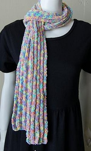 CPY Cotton Chenille Print Ribbed Scarf Kit - Scarf and Shawls