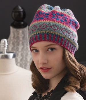 Cascade Venezia Sport Slouchy Fair Isle Hat Kit - Hats and Gloves