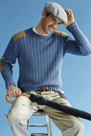 Plymouth Galway Worsted Ribbed Pullover Kit - Mens Sweaters