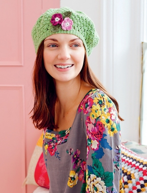 Debbie Bliss Baby Cashmerino Floral Beret Kit - Crochet for Adults
