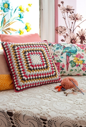 Debbie Bliss Rialto DK Simple Square Cover Kit - Crochet for Home